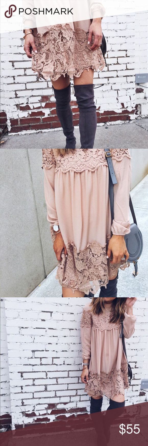 ASOS size 4 nude peach lace dress blogger favorite Stunning New with tags nude/peach lace dress style that is trending right now. Favorited by cella Jane blog and other fashion bloggers! Perfect for all seasons! ASOS/Fashion Union Dresses Long Sleeve