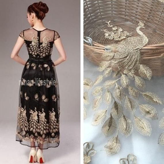 High Grade Luxurious Gloral Peacock Rmbroidered Lace Fabric by 1 Yard for DIY Dress,Wedding Lace Bridal Dress Lace,Formal Dress Fabric