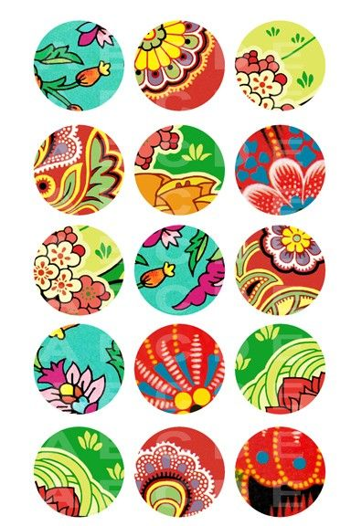 Download Colorful flower -- 4x6 inch digital sheet of 1inch circle images for bottle cap, pendants, magnets