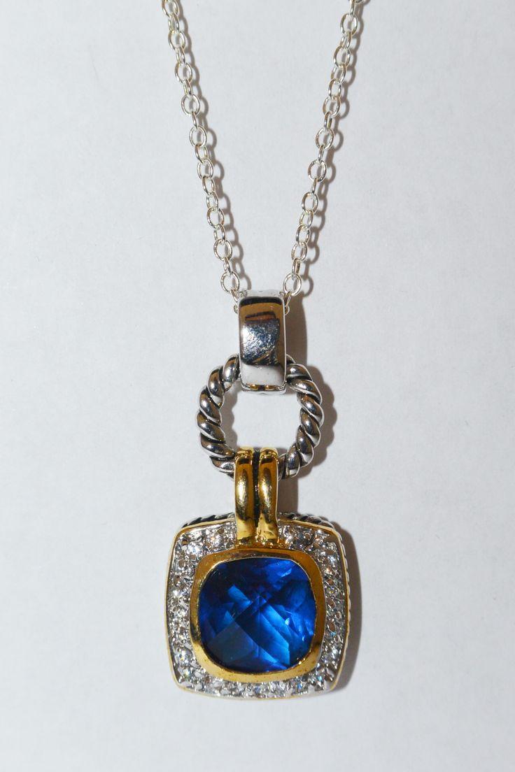Deep blue cushion cut two tone pendant