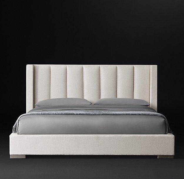 Vertical Channel Shelter Fabric Platform Bed