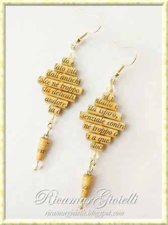 Orecchini con perle di carta e mezzi cristalli #beads #paperbead