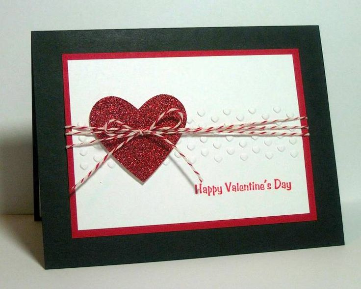 handmade Valentine card : Sparkly Valentine by dpetersen ...heart die cut from glitter paper .... band of tiny embossed hearts ... baker's twine triple wrap ending in bow over the heart ... black cardstock base ... clean and simple design ... Stampin' Up!