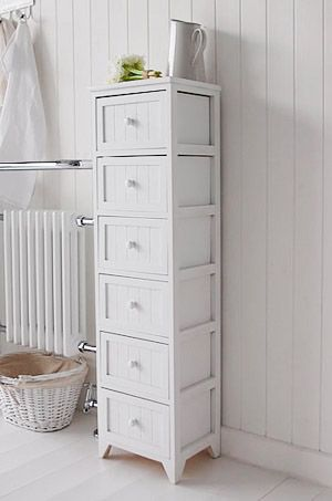 free standing tall slim bathroom cabinet with 6 drawers white cottage living