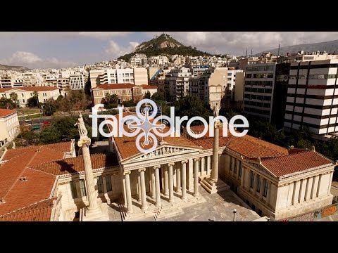 drone aerial view of Academy, University, Library - Athens - Η Ακαδημία ...