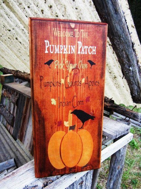 pumpkin patch sign fall sign halloween sign thanksgiving sign autumn sign crow sign montana made sign rustic home decor pumpkin sign
