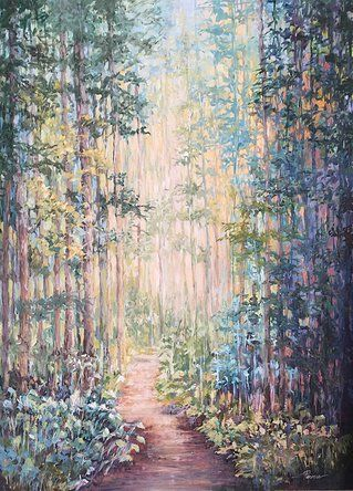 """Peaceful Forest"" original oil painting by artist Vanessa Penman - www.penman.co.nz"