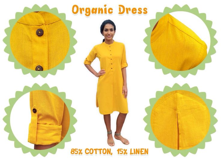 Organic Cotton and Linen, Mustard Yellow Knee Length Dress. A blend of organic, natural fibers- cotton and linen, woven together to tailor a pleasant shirt dress for an effortless look. Exceptional coolness and absorbency of linen, along with the comfort and durability of cotton makes this easy-fitted dress soft, relaxed and useful. Buttons made of coconut shell are hand sewn in, adding to its finesse. All-embracing mustard yellow will leave you feeling cheerful and light-hearted regardless…