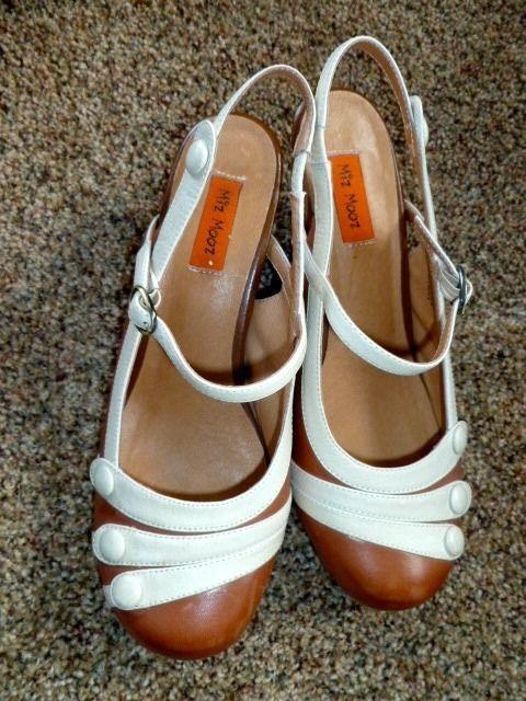 NWOT MIZ MOOZ Ella Shoes 7.5 Whiskey/Light Tan Vintage Inspired Leather Heels