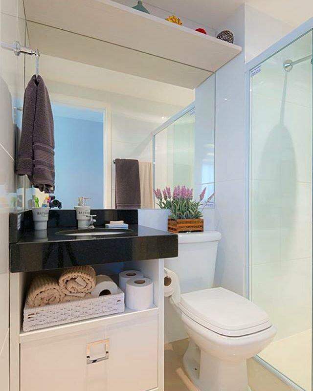 Projeto inspirador para banheiro pequeno e simples via Pinterest  Banheiros -> Banheiros Simples E Arrumados
