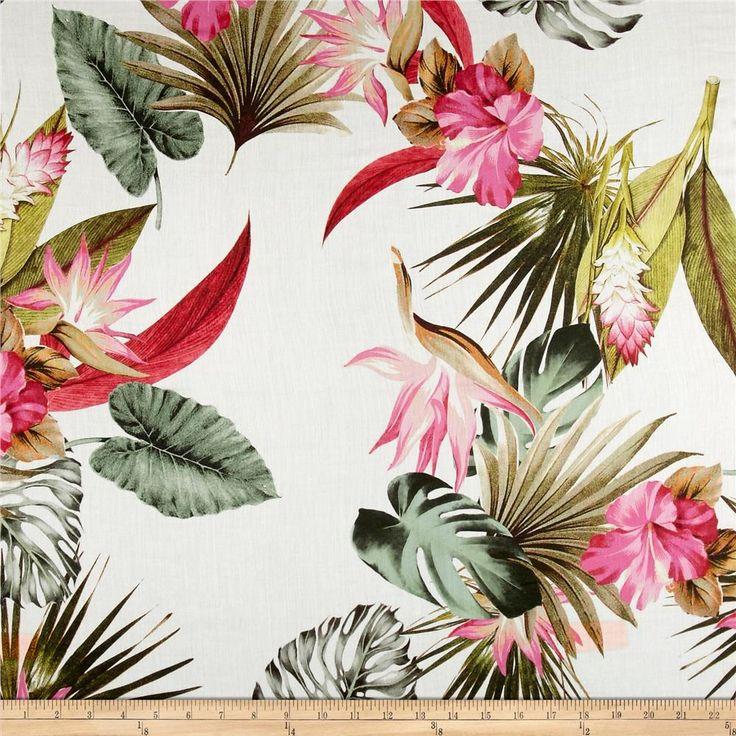 Italian Designer Cotton Voile Floral Green/Pink