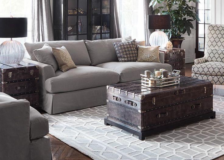 Emory 94 Slipcovered Sofa In Deso Dove Living Room