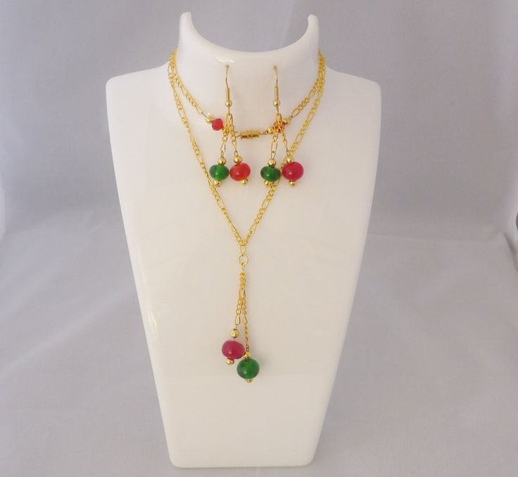 Christmas necklace and matching earrings. Artisan lampwork, SRA, Chrys Art Glass by ChrysArtGlass on Etsy