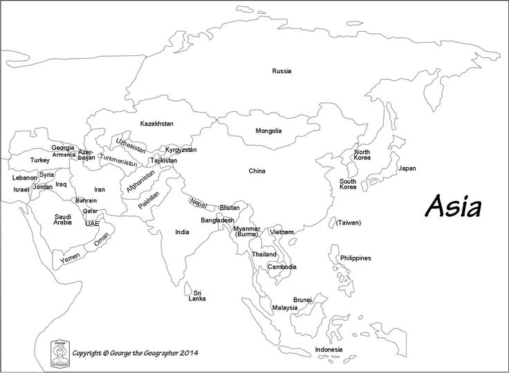 Outline Map Of Asia With Countries Labeled Blank For   Passport