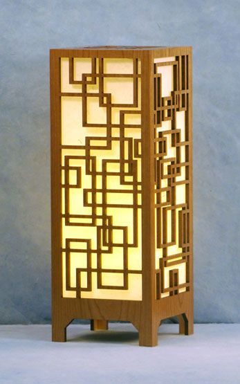 Decorative Laser Cut Wood Table Lamp Light Is Diffused By