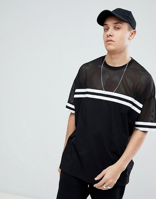 a133a9b9 Super Longline T-Shirt In Mesh With Monochrome Rib | Is Burning ...