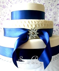 Wedding cake for a royal blue, silver and white wedding.