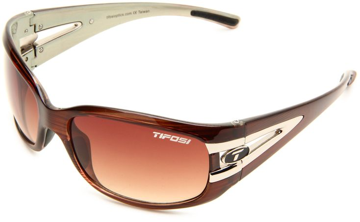 Tifosi Women's Lust Sport Sunglasses,Sage Wood Frame/Brown Gradient Lens,one size. Wraparound sunglasses with nylon frame featuring logoing at arms and temple tips.