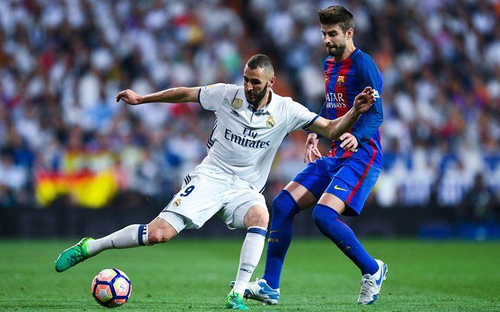 Télécharger fonds d'écran Karim Benzema, Gerard Piqué, 4k, le Real Madrid, Barcelone, La Liga, les joueurs de football, Bateau