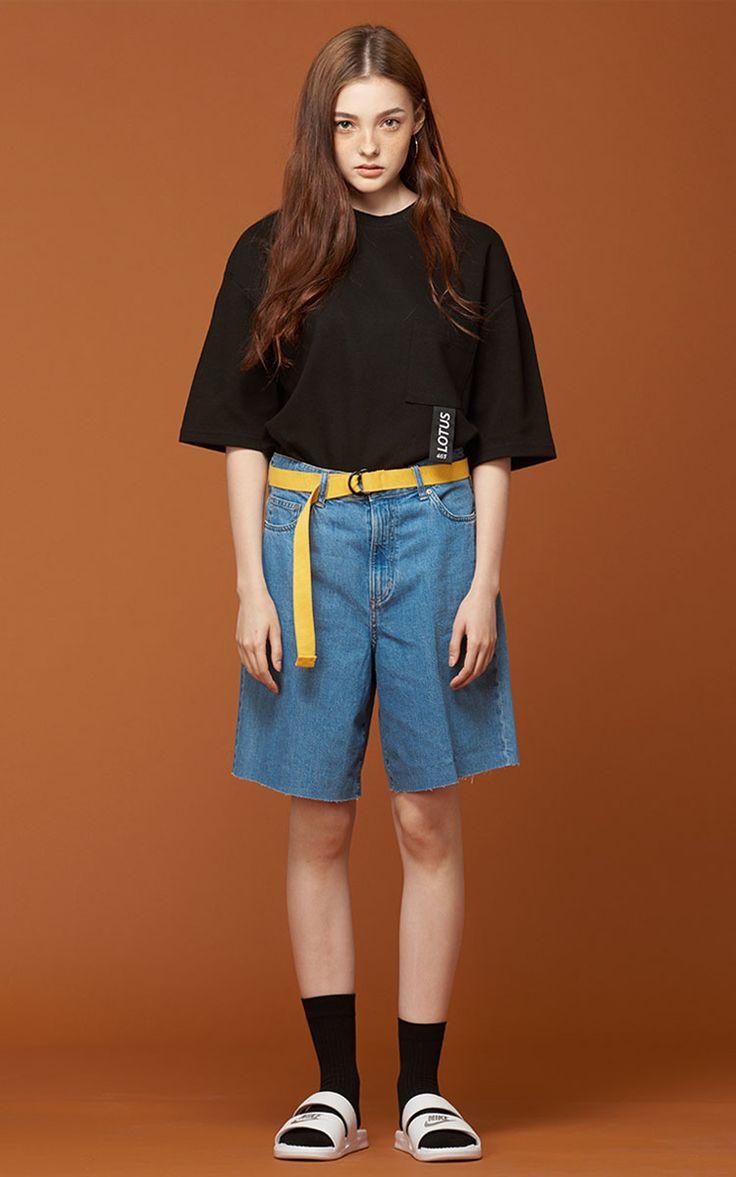 [JEASHER]ジェイアッシャー 韓国 黒 ブラック レディース メンズ 半袖 Tシャツ(ブラック)