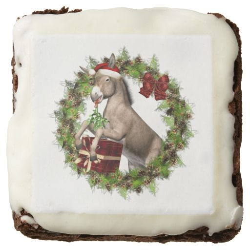 Delicious Italian Christmas Donkey Santa brownies are sure to make your holidays a little sweeter! A great addition to your holiday festivities, parties or a wonderful gift for family and friends too!  For more delicious cookies, treats and gifts with this art design please visit our shop! #donkey #brownies #christmasdessert #christmasdonkey #italianchristmasdonkey #christmasbrownies #zazzle