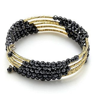 AdornMe Hematite & Diamond Cut Station Wrap Bracelet