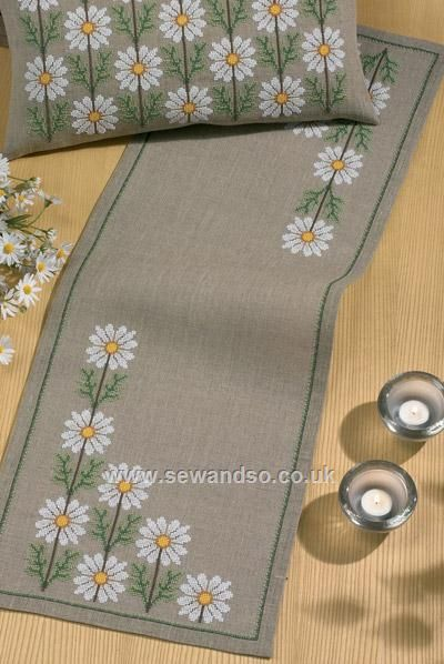 Buy White Daisies Table Runner Cross Stitch Kit Online at www.sewandso.co.uk