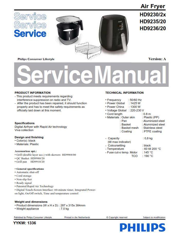 philips hd9220/20 air fryer manual