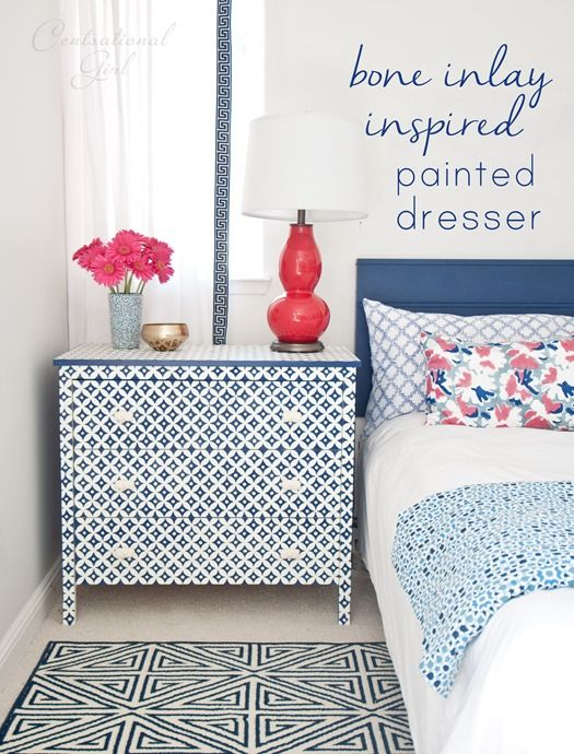 Bone Inlay Inspired Dresser {Featured in HGTV Mag}. Cool I already have this stencil.