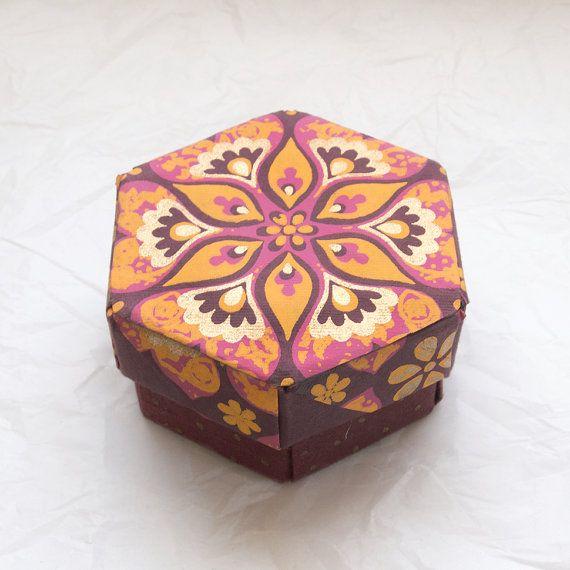 Modular Origami Keepsake Box  Painted Gilt Floral by CasaSaltbush