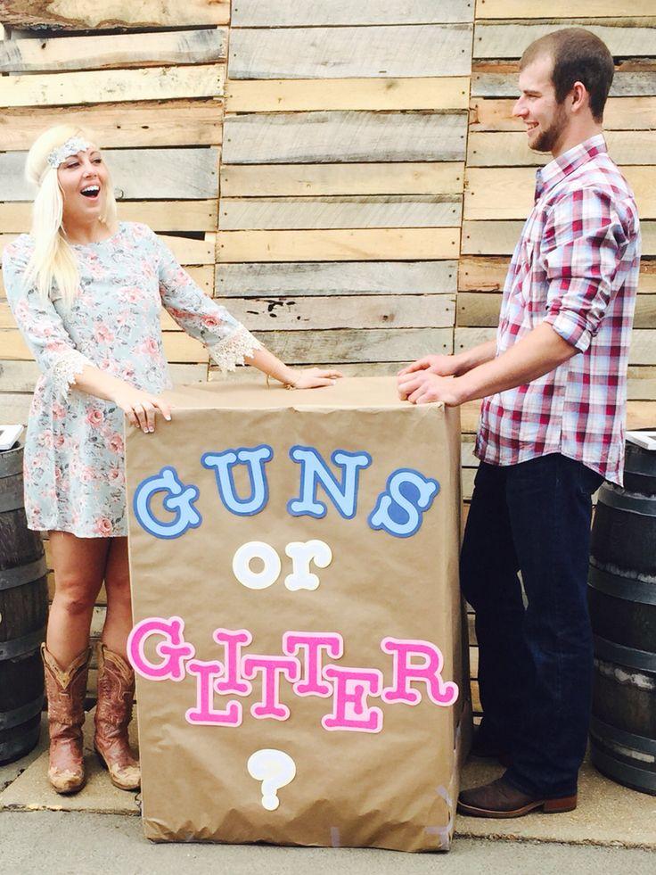 Guns or glitter gender reveal