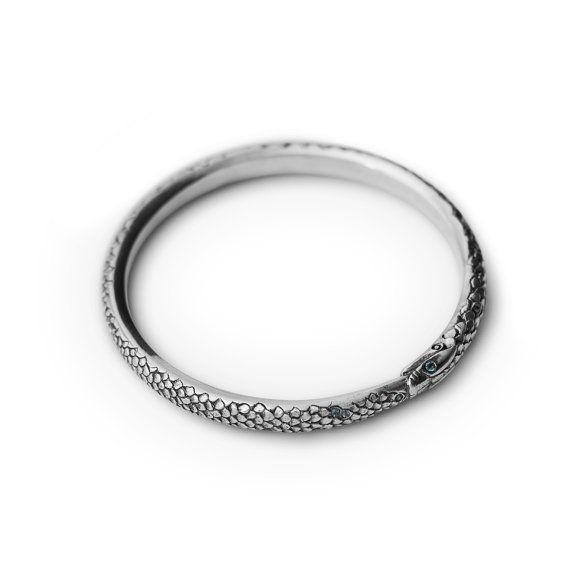 Custom piece handmade sterling silver Oroborus bangle set with aquamarine