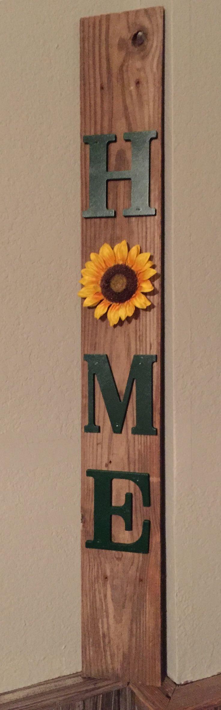 Sunflower home on pallet board
