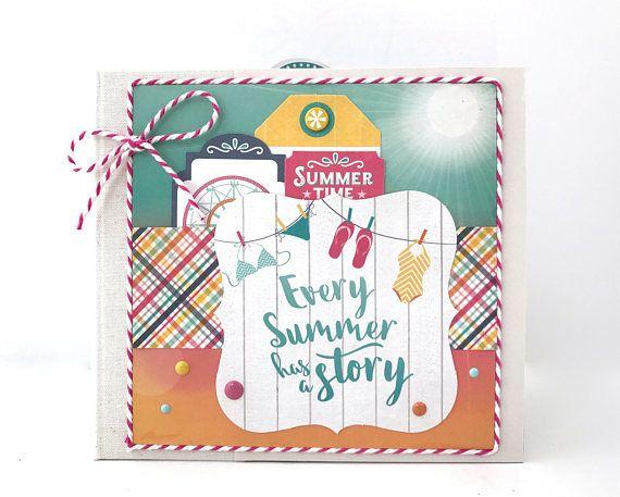Summer Mini Album Kit or Premade Scrapbook Album Vacation Sun