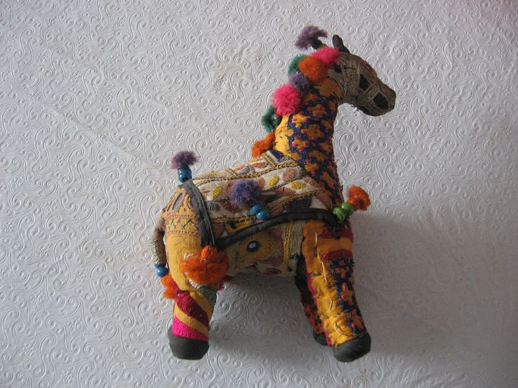 "Vintage India hand sewn fabric stuffed horse toy w/tassels- mirrored sequins  - 10"" H - $32.00"