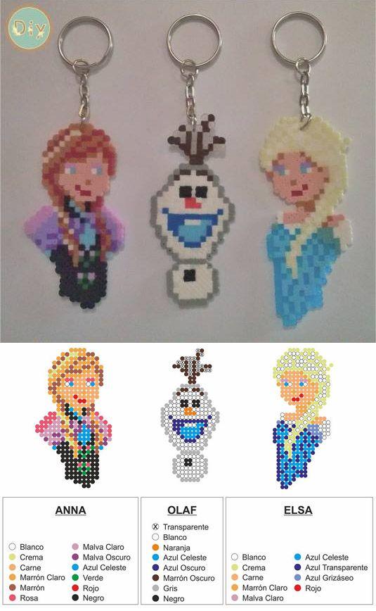 Elsa, Ana y Olaf realizados con Hamma beads. Frozen de DIY downloads                                                                                                                                                                                 Más