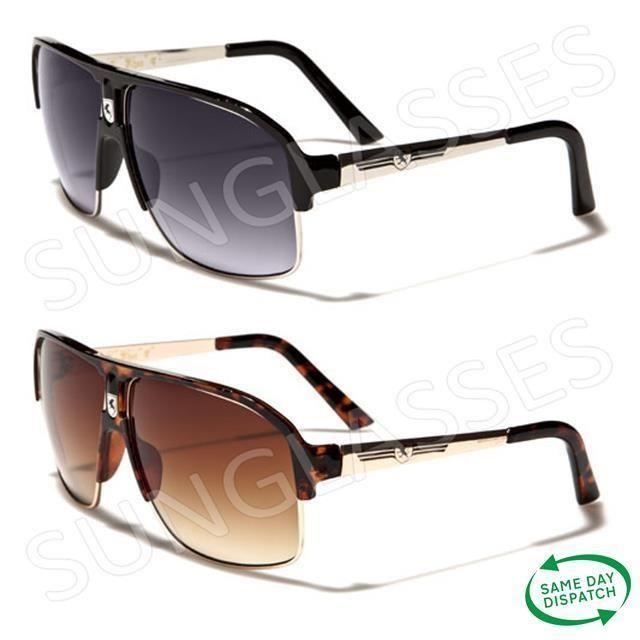 New Black Aviator Vintage Retro Mens Ladies Unisex Khan Sunglasses UV400 K2 #Khan #Aviator