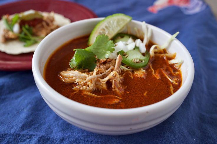 Pressure Cooker Mexican Chicken Soup in Red Chile Broth (Caldo de Pollo Rojo) | @mikevorbel