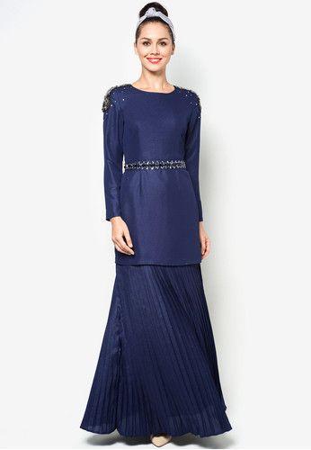 navy blue baju kurung with crystals - Google Search