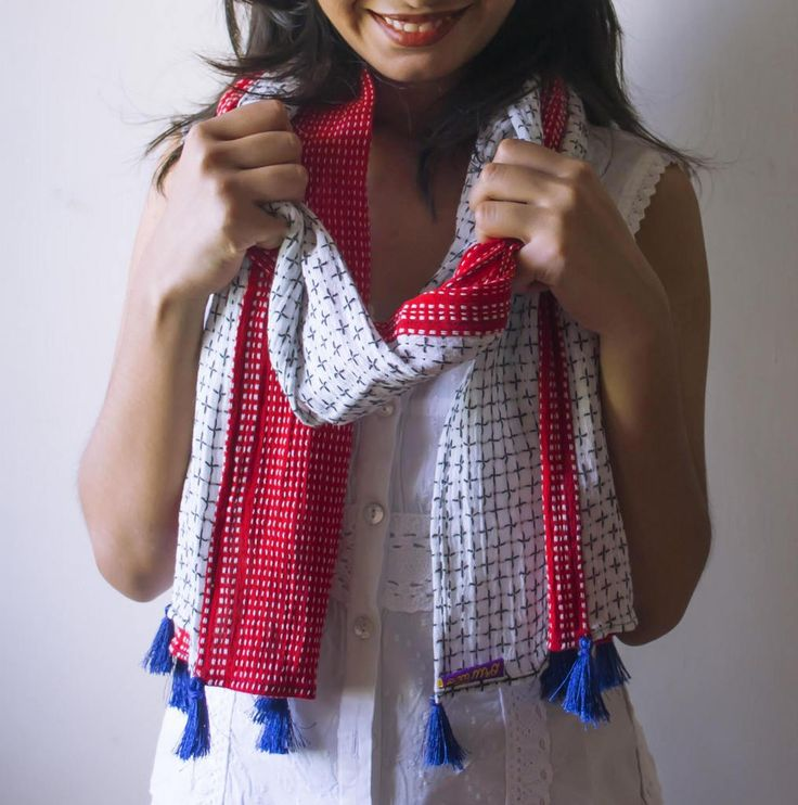 Cotton Scarf, Scarf, Red Scarf, Cherry on Top Scarf, mothers day gift, gift for her, Blue Tassel, Accessories, Clothes, Patchwork, Designer by Orunie on Etsy
