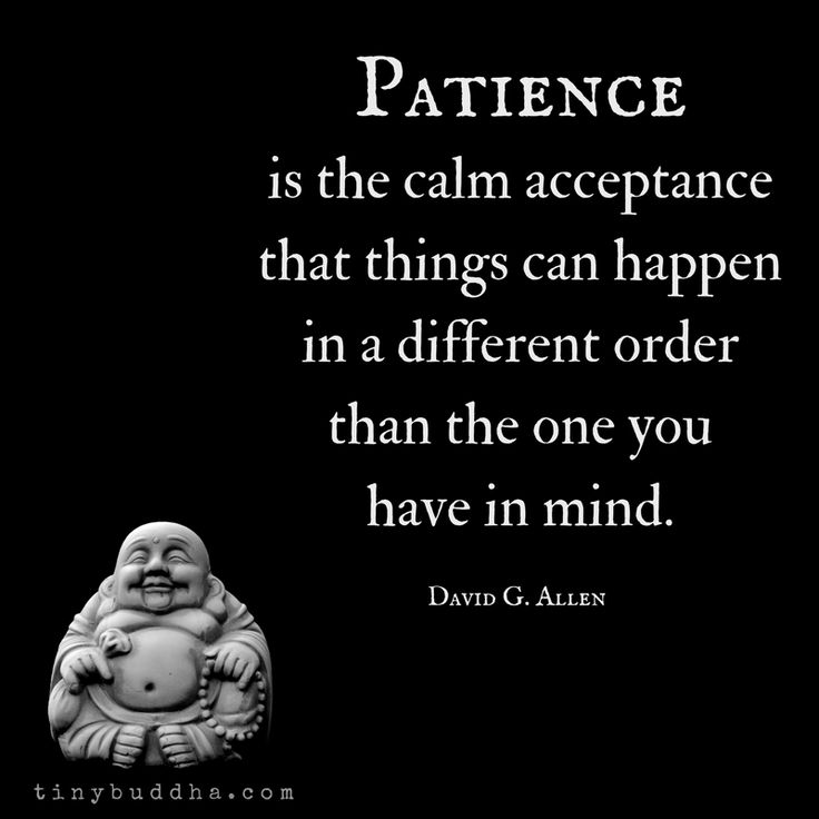 """Patience is the calm acceptance that things can happen in a different order than the one you have in mind."" ~David G. Allen"