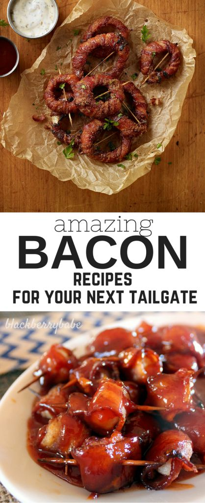 Amazing Bacon Recipes for your next tailgate or the super bowl! My favorite bacon appetizers like Bacon Onion Rings, Bacon Wrapped Water Chestnuts, dips and more!