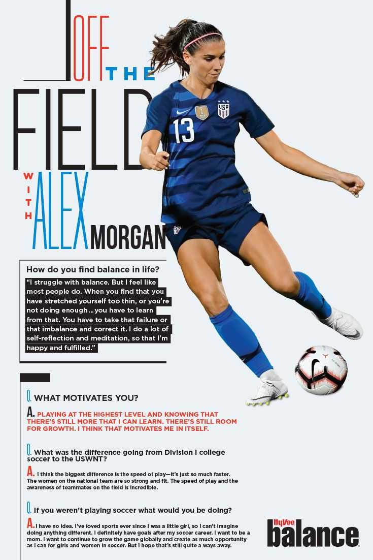 3187ae281c6 Learn more about how Alex Morgan balances life in this month s issue of  Balance. Available now at your local Hy-Vee!