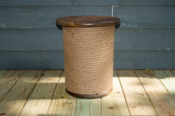 Wooden Spool Table Table with rope Nautical decor by PalletfRENZZY