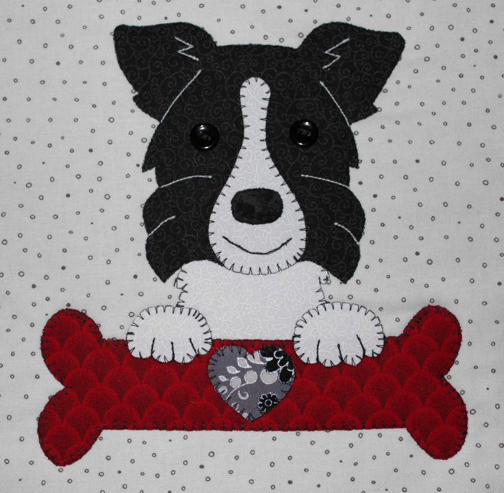 Border collie applique wall hanging.  Dog quilt.