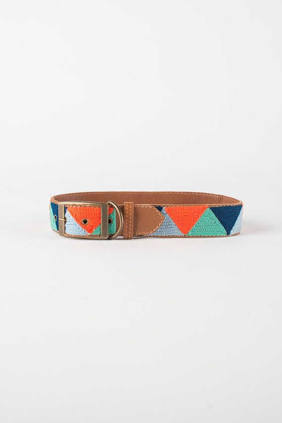 Blue & Orange Triangle  Leather Embroidered Dog by fillydogco