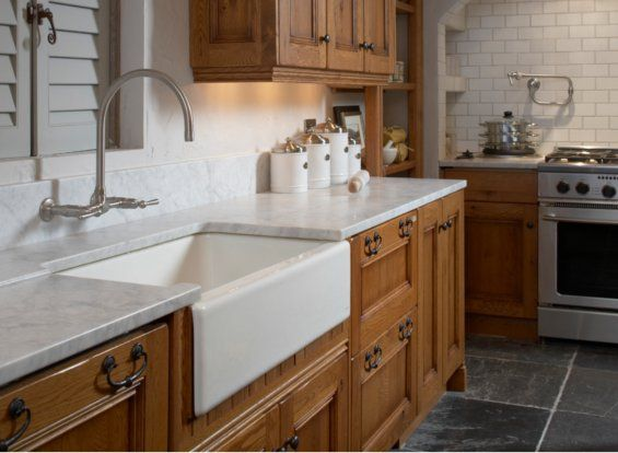 Darker cabinets with white accents