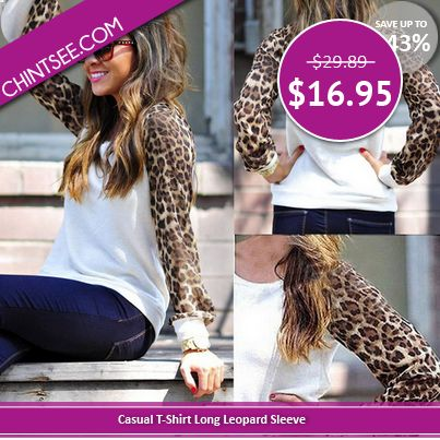 This loose top with long leopard sleeves & round neck makes a perfect outfit this fall!