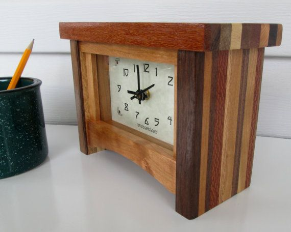 Mantle Clock Desk Clock  Mantel Clock Scrap Wood by TanteandOom, $69.00