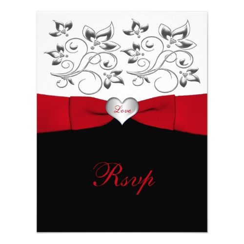 Valentine's Day Wedding Invitation Black White Red PRINTED RIBBON Floral Reply Card